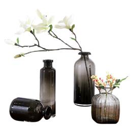 Artistic Grey color glass vase art Style simulation Magnolia flower vase set Decoration AB09 tuba