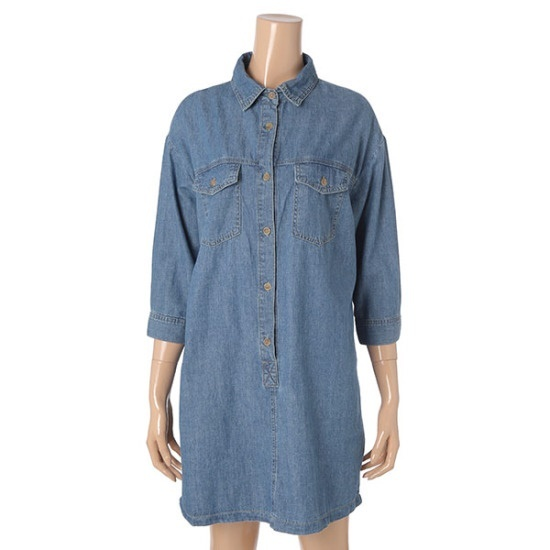 ヘンオス女性7部小売のデニムのシャツのワンピースHOC751 面ワンピース/ 韓国ファッション