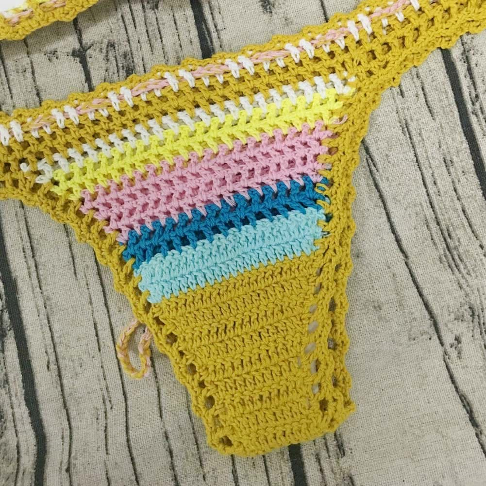 680a82686cd58 fit to viewer. prev next. Sexy Women Knitted Bikini Set Crochet Lace Rainbow  Color Crop Top Bralette Briefs Boho ...