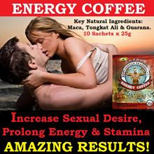 ENERGY COFFEE (10 Sachets x 25g) / Maca Tongkat Ali And Guarana