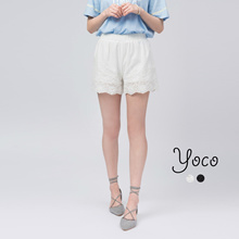 YOCO - Lace Cut-out Highwaist Shorts-170733