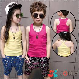 100% Cotton Unisex Singlets Children Top Sleeveless Tee Shirt T-shirt Boys Girls Kids Clothes