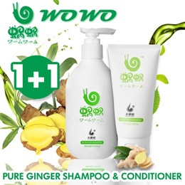 LOWEST PRICE ON Qoo10! [BUY 1 GET 1 FREE] 100% AUTHENTIC! WOWO pure ginger shampoo
