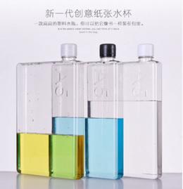 Creative A5 Size Memo Notebook Flat Plastic Water Bottle 420ml