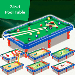 ★ 7-in-1 Mini Pool Table + Sports Games ★ Real-Life Simulation Free Play ● Includes Golf Bowling