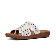 FITFLOP H-BAR SLIDE LATTICED LEATHER URBAN WHITE ★100% Authentic★