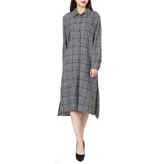 ラブLAPメタル社チェックロングOPSAH4WOB71 面ワンピース/ 韓国ファッション