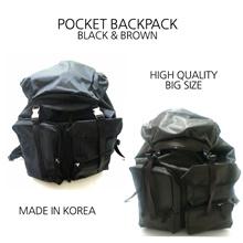 Korea New Hot Fashion Casual Stylish Men Women 2 Colors Black Brown Pocket Backpack School Travel Bag Crossbag Handbag Clutch Backpack