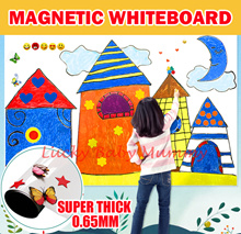 【Premium Magnetic Whiteboard】100x60x0.65mm Thick White Board Roll Sticker Wall Kids Drawing Child