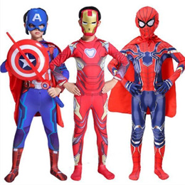 Halloween Day Costume Cosplay Costume Props Limited Edition Kids Steel Spider-Man Clothes Captain Am