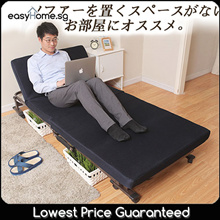 Japanese Style Foldable Bed With Mattress/ Movable Wheels/ Sturdy Metal Frame/ Adjustable HeadRest