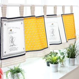 Mr. Rabbit / Mediterranean Sea semi-curtain / Flowers and / plaid / lace / cotton and linen / kitchen half-curtain / Coffee curtain / door curtain / Sri Lanka Collection