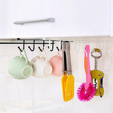 Kitchen Cabinet Under Shelf 6 Hooks Cup Mug Holder Kitchen Iron Hanging Storage Rack Cupboard Organi