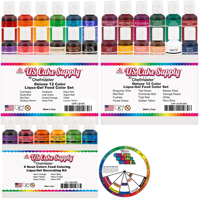 24 Color Cake Food Coloring Liqua-Gel Decorating Baking Primary Secondary  Colors Deluxe Set - U.S.