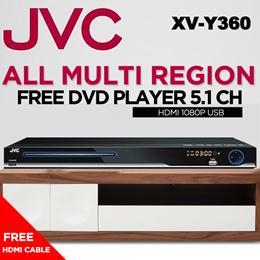 JVC XV-Y360 All Multi Region Free DVD Player 5.1 Ch. HDMI 1080p USB WITH FREE HDMI CABLE