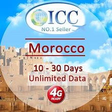 ◆ ICC◆【Morocco Sim Card ·10/30 Days】❤Up to 15GB*4GLTE+Unlimited data❤Plug and Use❤