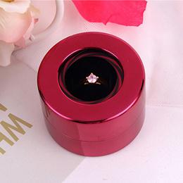 Women Fashion Design Wedding Creative Round Rotating Wedding Ring Gift Box Jewelry Display Storage C