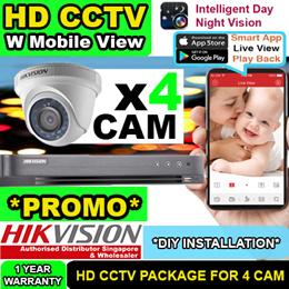 HIK CCTV Camera Singapore DIY Package for 4 HD Camera