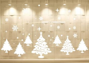 Peng Cai Amj017 Christmas Tree Cartoon Wall Sticker Window Living Room Balcony Glass Background Deco