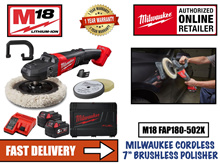 Milwaukee M18 FAP180-502X FUEL 7inch Cordless Polisher Set c/w 2 nos 5.0AH Batteries and Charger