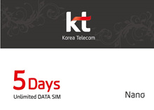 4G LTE Unlimited Data SIM card of in South Korea (5 days) authentic Korea telecom