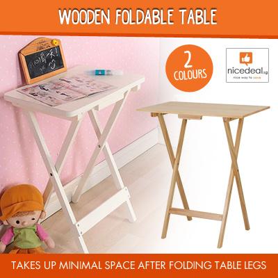 Qoo10 Wood Foldable Table Furniture