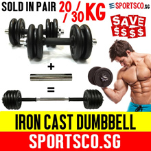 ⏰⚡ Premium Iron Cast Dumbbell to Barbell Set ☘ 20KG / 30KG ☘ Long Lasting ☘ Non Slip Rubber Handle ☘