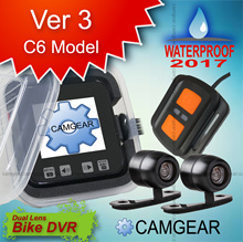 C6 ver3  dual lens WATERPROOF motorcycle Dvr + WIRED controller - free  delivery