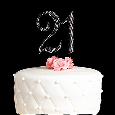 21st Wedding Anniversary.21 Cake Topper For 21 Years Birthday Or 21st Wedding Anniversary Silver Crystal Rhinestone Party Dec