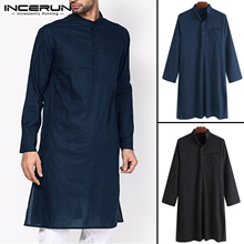 wholesale 2019 Classic Indian Men Dress Robe Clothes Kurta Suits Shirt Long Sleeve Shirt Male Loose