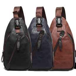 Shoulder Chest Bag For Men Genuine Cow Leather Casual Fashion Waterproof