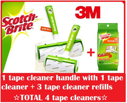 Scotch-Brite Large Size Tape Cleaner + 3 Refill Set /Roll Cleaner/Lint Roller/House cleaning/Dust