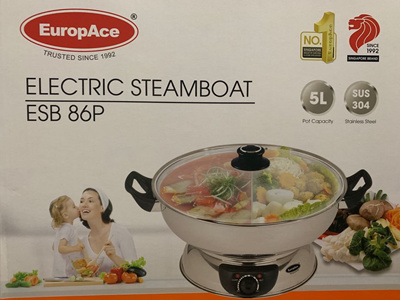 Brand New EuropAce ESB 86P Electric Steamboat 5L. Stainless Steel. Local SG Stock and warranty !!