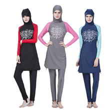 SwimWear Suit Muslimah Women  Long Sleeve Swimming Dress+Pant +Hat Plus Size
