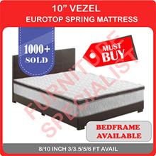 "10"" VEZEL Eurotop Spring Mattress / Add on Bedframe | 4 SIZES"