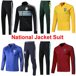 18-19 National Jacket Suit Long Soccer Jacket Uniform Argentina Germany France Spain Coat夹克
