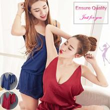 DANCE GIRL/ Korea High Quality Satin Lace Lingerie Sleepwear Slip Dress Pyjamas Korea Dress