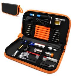 60W 조정 가능한 온도 전기 납땜 인두 키트 + 5 PCS 팁 휴대용 용접 수리 도구 족집게 취미 칼 (주황색)