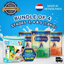 [Bundle of 4] Enfagrow A+ Baby Milk Powder Stage 3/4/5 -1.8kg + Free Megabloks/Petite Park Voucher!
