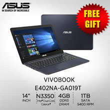 Asus Vivobook E402NA-GA019T/ Intel® Dual-Core Celeron® N3350 / 1TB / 1 Years International Warranty