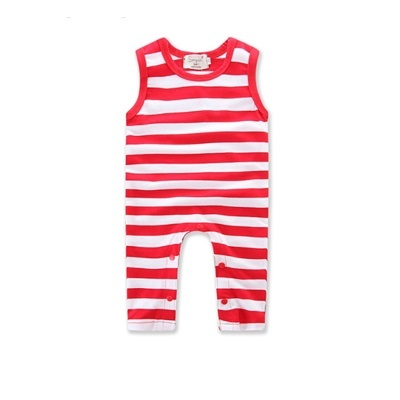 369f75c874 Ins explosion models boys and girls baby red and white striped short-sleeved  jumpsuit