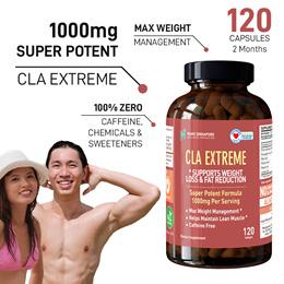 [120 caps 2 mths]SG No.1 CLA Extreme 1000mg + Oleic and Palmitic Acid ❤ Max Weight Loss ❤ FREE GIFT