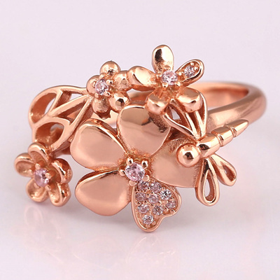 674470fd4deef solid 925 sterling Silver beads charm Wildflower Meadow Rings Rose & Blush  Pink Crystal Compatible W