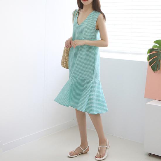 ドレス飛ぶクルレドゥ夜チェック、袖なしの古ワンピース 塔/袖なしのワンピース/ 韓国ファッション