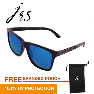 JRS Kacamata Unisex Hitam Persegi Panjang Proteksi UV 400 Lensa Biru P4738RV 57a6943d4d