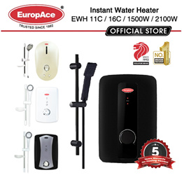EuropAce Instant Water Heater - EWH 11C / 16C / 1500W / 2100W  - 5 Years Warranty on Heating element