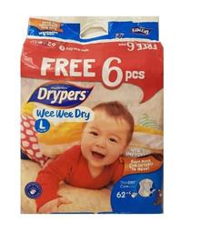 Drypers (L) 62 + 6 per pack