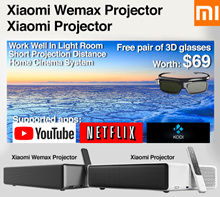 Free Gift 3D Glasses❤ XIAOMI WEMAX projector short throw 4k android from 42inch to 150inch