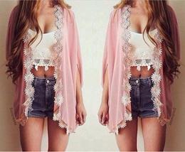 Pocketshopping Women Ethnic Lace Flower Loose Kimono Cardigan Jacket Blouse Tops