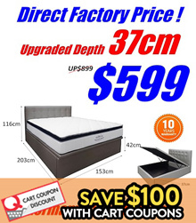 NEW VERSION UPGRADED DEPTH 37CM STORAGE BED / ADD ON MATTRESS / Save $150 with Coupons!